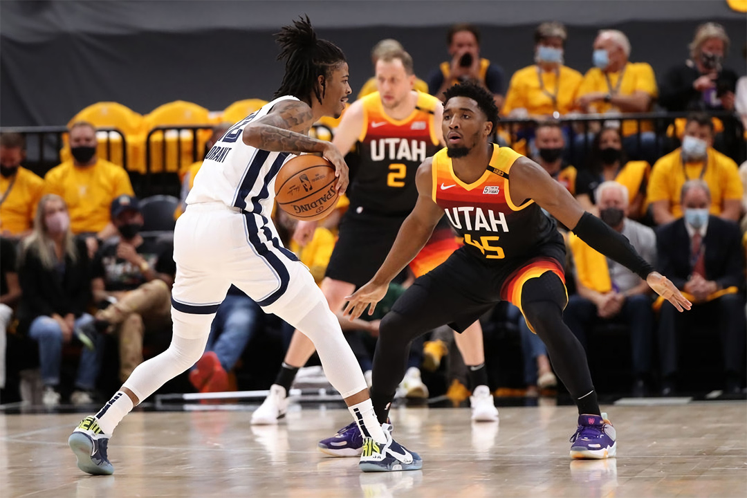 Ja Morant in a custom Nike Adapt BB and Donovan Mitchell in the adidas D.O.N. Issue #3