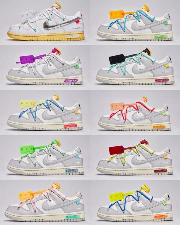 """Off-White x Nike Dunk Low """"Dear Summer"""" Lots 11-20, Lots 31-40, Lots 41-50"""